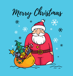 template of merry christmas card with santa claus vector image