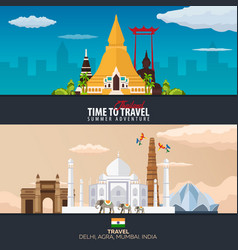 thailand and india travel banners vector image