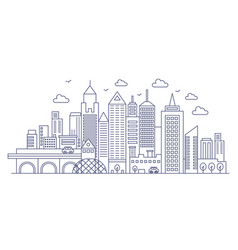 Thin line modern big city background urban vector