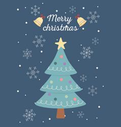 tree snowflakes bells celebration happy christmas vector image