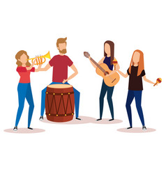 Tropical band playing instruments vector