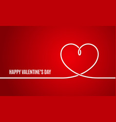 Valentines day banner heart line vector