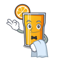 Waiter orange juice mascot cartoon vector