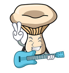 with guitar milk mushroom mascot cartoon vector image