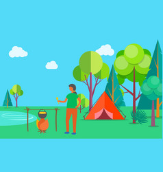 woman cooking soup camping outdoors in summer vector image