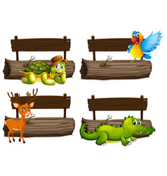 Wooden signs with many animals vector