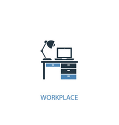 workplace concept 2 colored icon simple blue vector image