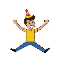 young man celebrating cartoon vector image