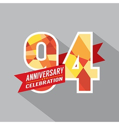 94th years anniversary celebration design vector