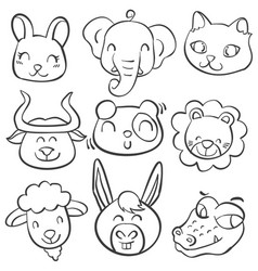 collection stock of animal head doodles vector image
