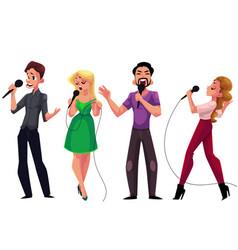 men and women singing karaoke holding microphones vector image