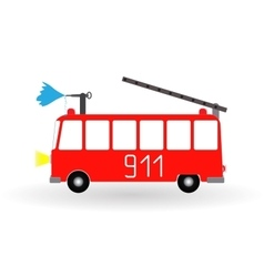 Painted Cartoon Fire Engine Red with Ladder and vector image