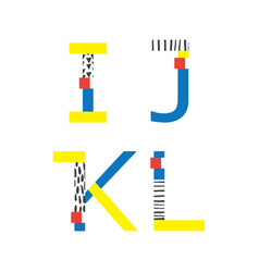 set with abc letters i j k and l in vector image