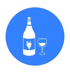 White wine icon in black style isolated on white vector image vector image