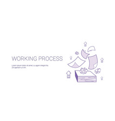 Working process web banner with copy space vector