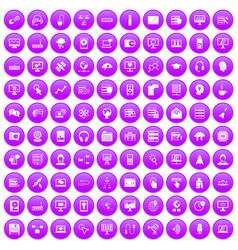 100 on-line seminar icons set purple vector