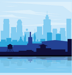 colorful background landscape city in the morning vector image