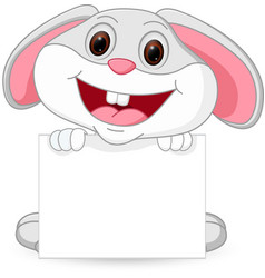 cute rabbit cartoon with sign vector image vector image