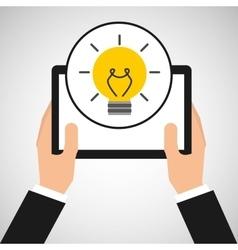 Hand holds tablet idea innovation vector