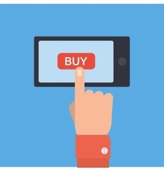 Hand holing smart phone with buy button on the vector
