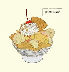 Ice-cream sundae sketch vector