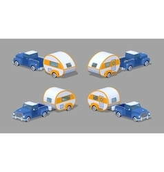 Low poly blue retro pickup with orange-white motor vector image