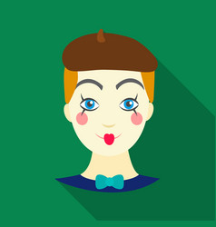 Mime artist icon in flat style isolated on white vector