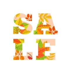 Sale word from colorful leaves vector image vector image