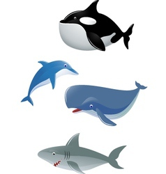 sea animal collection vector image vector image