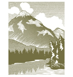 Woodcut Wilderness Lake vector image vector image