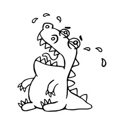 cute crying dragon vector image