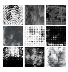 Grunge halftone background set Dots vector image