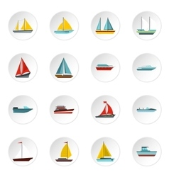 Ship and boat icons set flat style vector image