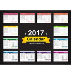 Year 2017 calendar template with space for photo vector image vector image