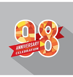 98th Years Anniversary Celebration Design vector image