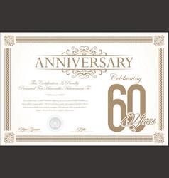 anniversary retro vintage background 60 years vector image vector image