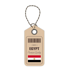 hang tag made in egypt with flag icon isolated on vector image