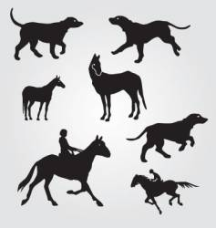 horses and hunting dogs vector image vector image