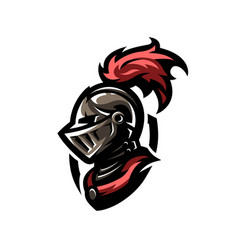 medieval warrior knight in helmet vector image vector image
