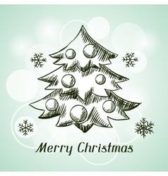 Merry Christmas hand drawn invitation card vector image vector image