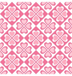 seamless pattern of stylized hearts and geometrica vector image vector image