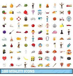 100 vitality icons set cartoon style vector