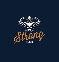 A vintage strong man with a mustache vector