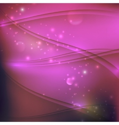 Abstract purple background with waves and sparkles vector