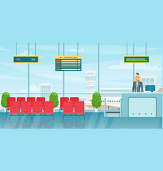 airport waiting room interior flat colorful vector image