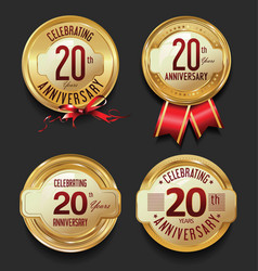 anniversary retro golden labels collection 20 vector image vector image