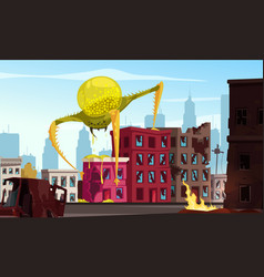 Attacking monster cartoon vector
