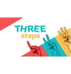 banner with set counting one two three steps vector image
