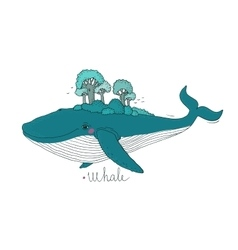 Big beautiful whale to the wood on the back vector image