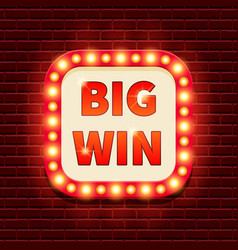 Big win retro banner template vector